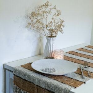 "Boho striped handwoven table runner in caramel and white - textured cotton linen table runner 16""x55""/ 40x140 cm"