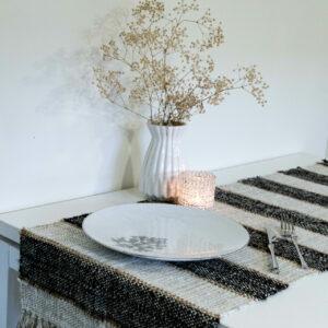"Boho striped handwoven table runner in black and white - textured monochrome cotton linen table runner 16""x55""/ 40x140 cm"