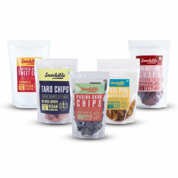 Snackible Assorted Vegetable Chips Combo (Pack of 1 each) | BBQ Beetroot (30gm), Peri Peri Sweet Potato (30gm), Pudina Okra (25gm), Taro (30gm), Sweet Corn (55gm)