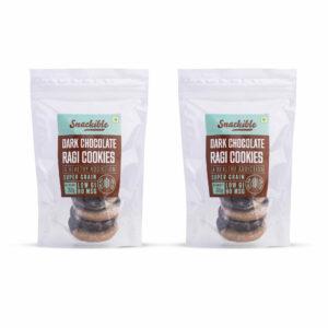 Snackible Dark Chocolate Ragi Cookies (Pack of 2) - 2x200gm