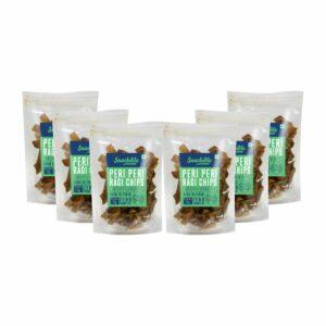 Snackible Peri Peri Ragi Chips (Pack of 6) - 6x70gm