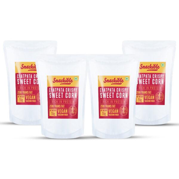 Snackible Chatpata Crispy Sweet Corn (Pack of 4) - 4x55gm