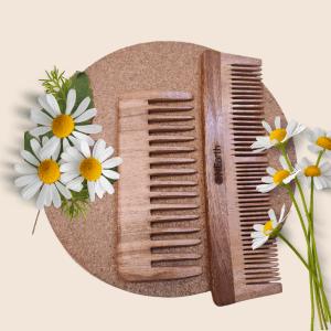 Organic Neem wooden Comb - DETANGLING SHOWER COMB+ 2 IN 1 COMB