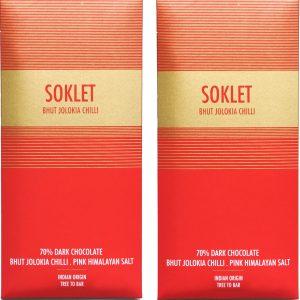 Soklet Bhut Jolokia Chilli + Himalayan Salt - Tree-to-bar Indian Origin-70% Dark Chocolate 50 GMS - Pack of 2 (100 GMS)