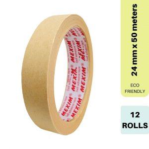 Ecosattva Self Adhesive Eco-Friendly Kraft Paper Tape - 24mm x 50 meters x 12 Rolls