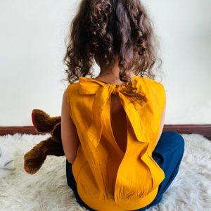 Emma Open Back Blouse (Mustard)