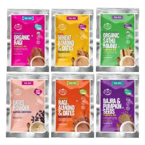 6 Trial Pack Combo (Stage 2) - Organic & Fresh Porridge Mixes & Dry Dates Powder - 50g each X 6