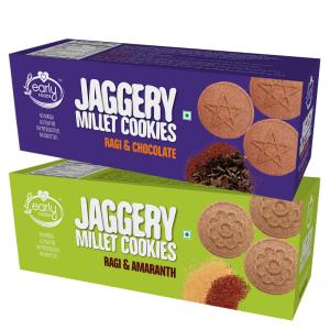 Assorted Pack of 2 - Ragi Amaranth & Ragi Choco Jaggery Cookies X 2, 150g each