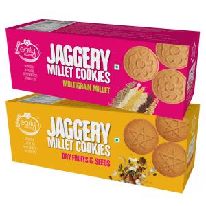 Assorted Pack of 2 - Dry Fruit & Multigrain Millet Jaggery Cookies X 2, 150g each