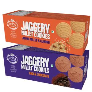 Assorted Pack of 2 - Jowar & Ragi Choco Jaggery Cookies X 2, 150g each