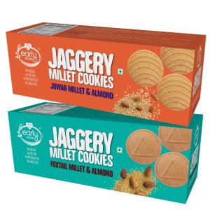 Assorted Pack of 2 - Jowar & Foxtail Almond Jaggery Cookies X 2, 150g each