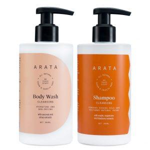 Arata Natural Bath Essentials for Women & Men with Cleansing Shampoo & Body Wash || All Natural,Vegan & Cruelty Free || Plant Based ,Non Toxic Bath & Intensive Nourishment