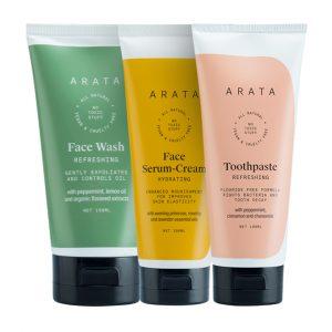 Arata Essential Morning Regime With Facewash, Face Serum-Cream & Toothpaste for Women & Men || All Natural, Vegan & Cruelty-Free || Minty Fresh Breath || Radiant, Healthy Skin