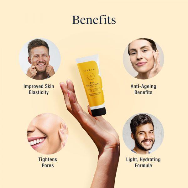 Arata Natural Hydrating Face Serum-Cream With Evening Primrose, Rosehip & Lavender Oil For Women & Men | All-Natural, Vegan & Cruelty-Free | Enhanced Nourishment For Improved Skin Elasticity - (50ML)