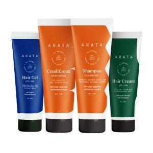 Arata Natural Hair Care Essentials For Women & Men With Cleansing Shampoo(75 Ml), Conditioner(75 Ml), Hair Gel(50 Ml) & Hair Cream(50 Ml) | All-Natural, Vegan & Cruelty-Free |