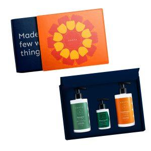 Arata Natural Complete Hair Care Daily Scalp Therapy Gift Box For Women & Men || Hydrating Shampoo (300 Ml), Hempocado Oil (100 Ml), Conditioner (300 Ml)|| All Natural, Vegan & Cruelty-Free || Plant-Based, Non-Toxic Bath