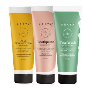 Arata Essential Morning Regime With Facewash (50 ML), Face Serum-Cream (50 ML) & Toothpaste (50 ML) for Women & Men || All Natural, Vegan & Cruelty-Free || Minty Fresh Breath || Radiant, Healthy Skin