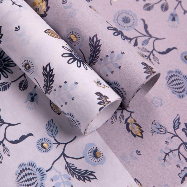 Floral Gold Foiling Gift Wraps – Navy Blue and Sky Blue Floral Prints (Set of 2)