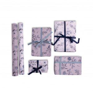 Designer Gift Wrap – Blue Floral Design – Navy Blue and Sky Blue Flower Prints (Set of 2)
