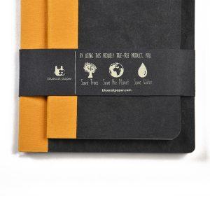 Eco-friendly Black Handmade Book A5 & A6(Set of 2)- tree-free cotton rag paper