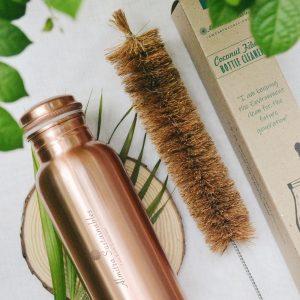 Copper Bottle and Coconut Fiber Bottle Cleaner