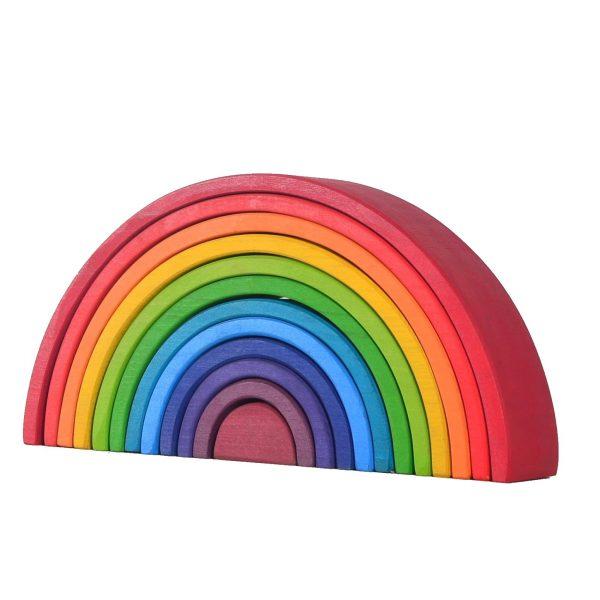 Large 12-Piece Rainbow Stacker - Wooden Nesting Puzzle/Creative Building Blocks