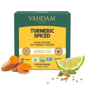 Organic Spiced Turmeric Tea | USDA Organic Certified 15 Turmeric Tea Bags | Blend of Turmeric Powder & Fresh Spices | Herbal Tea for Weight Loss | 100% Natural Detox
