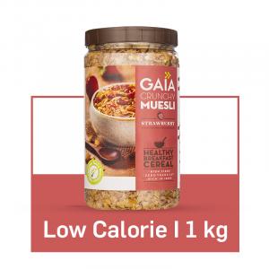 Gaia Crunchy Muesli- Strawberry. Power-Packed Low Calorie Healthy Breakfast. 1 Kg