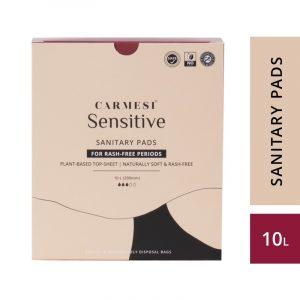 Carmesi Sensitive Sanitary Pads - Certified 100% Rash-free by Gynaecologist (10 Large)