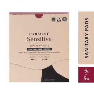 Carmesi Sensitive Sanitary Pads - Certified 100% Rash-free by Gynaecologist (5 Large + 5 XL)