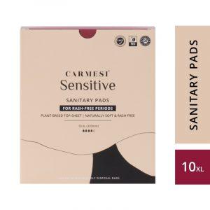 Carmesi Sensitive Sanitary Pads - Certified 100% Rash-free by Gynaecologist (10 XL)