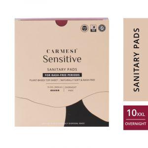 Carmesi Sensitive Sanitary Pads - Certified 100% Rash-free by Gynaecologist (10 XXL)