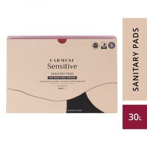 Carmesi Sensitive Sanitary Pads - Certified 100% Rash-free by Gynaecologist (30 Large)