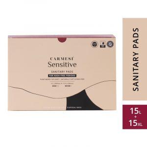 Carmesi Sensitive Sanitary Pads - Certified 100% Rash-free by Gynaecologist (15 Large + 15 XL)