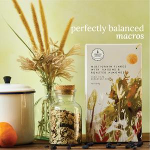 High Fiber Breakfast Cereal - Multigrain Flakes With Raisins & Roasted Almonds, 400g