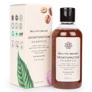 Bella Vita Organic Growth Protein Conditioning Shampoo Anti Frizz, Hairfall Control, Greying, Volumizing & Anti Dandruff, 225 ML Sls/Paraben/Sulfate Free