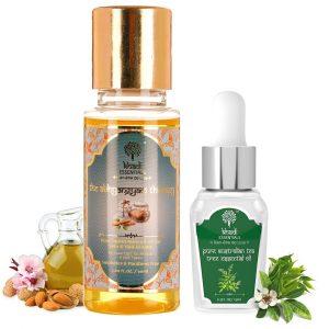 Khadi Essentials Set of Pure Sweet Almond Oil & Tea Tree Essential Oil