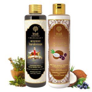 Khadi Essentials Set of Stress Relief Hair Oil & Tender Narikela Hair Rinser