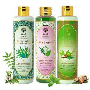 Khadi Essentials Set of Marmik Neem Tulsi Oil, Aloe Vera Neem Tea Tree Hair Rinser & Shea Butter Thyme Hair Conditioner