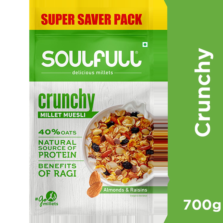 Soulfull Millet Muesli - Crunchy, Contains Almonds & Raisins, 700 g