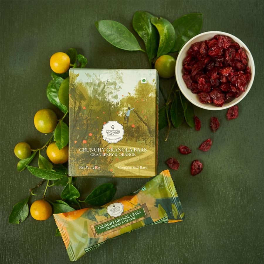 Crunchy Granola Bars - Cranberry & Orange (Pack of 6)