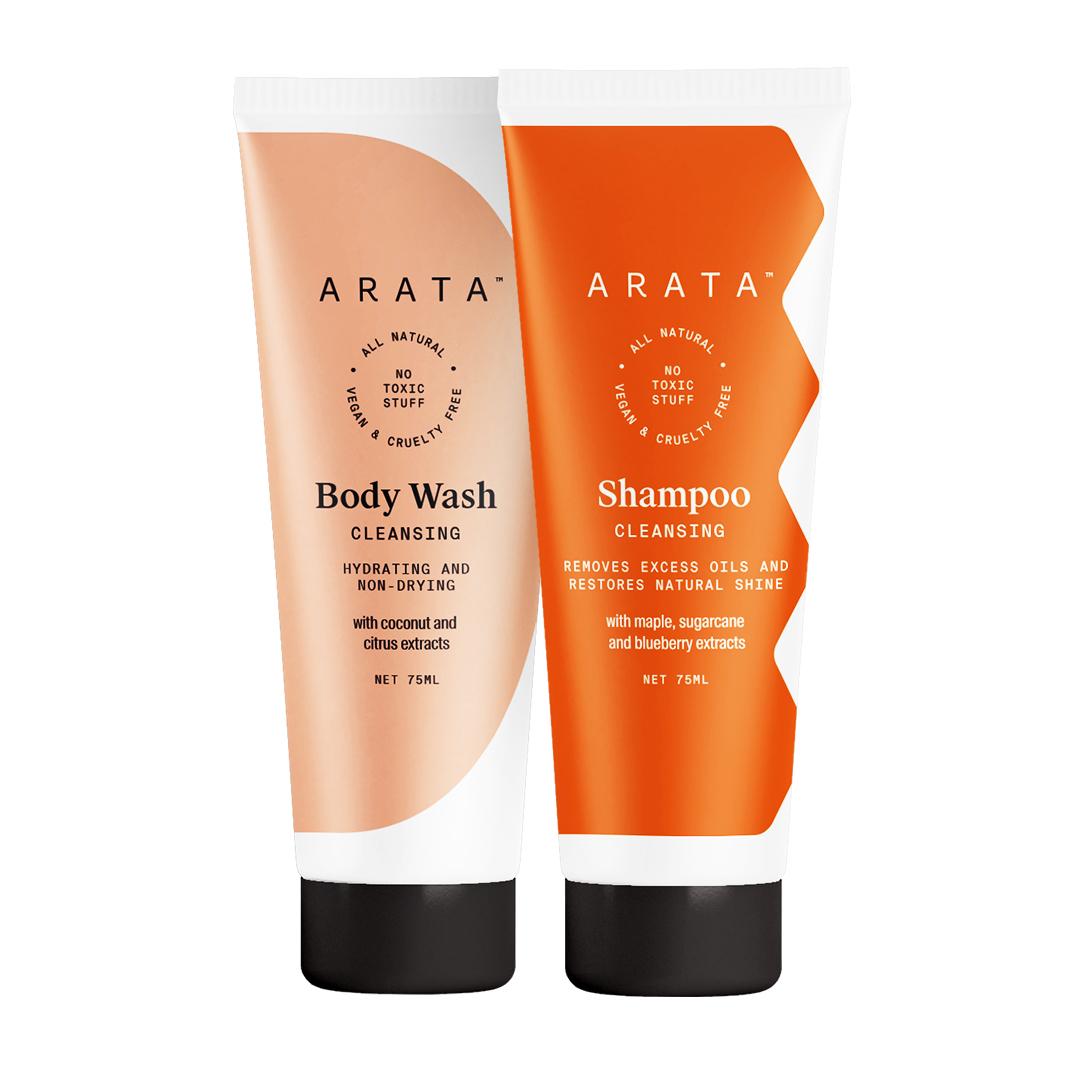 Arata Natural Bath Essentials for Men & Women with Cleansing Shampoo(75 Ml) & Body Wash(75 Ml) || All Natural,Vegan & Cruelty Free || Plant Based ,Non Toxic Bath & Intensive Nourishment