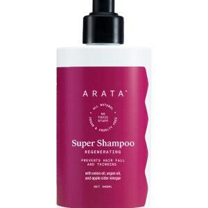 Arata Natural Regenerating 5 in 1 Anti-Hairfall Super Shampoo with Onion Oil, Bhringraj, Apple Cider Vinegar, Argan Oil & Aloe Vera For Men & Women || Prevents Hairfall & Thinning (300 Ml)