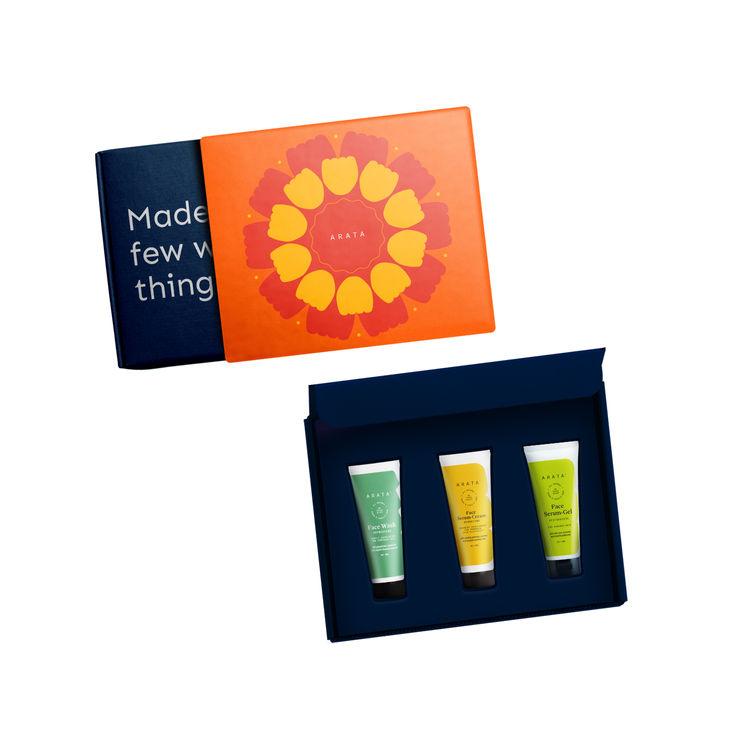 Arata Natural Mini Face Revitalizing Gift Box For Men & Women || Face Wash (50 Ml), Face Serum Cream (50 Ml), Face Serum Gel (50 Ml) || All Natural, Vegan & Cruelty-Free || Enhanced Nourishment For Improved Skin Elasticity