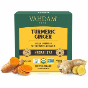 Organic Turmeric + Ginger Powerful SUPERFOOD Blend (15 Tea Bag) Herbal Tea | Powerful Wellness & Healing Properties of Turmeric & Ginger | 100% Natural | Brew as Hot or Iced Tea