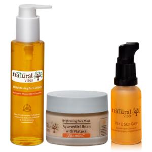 Natural Vibes ~ Ayurvedic Vitamin C Skin Repair and Glow Regime with 1 Vitamin C Face Wash 120 ml, 1 Vitamin C Face Mask 50 g and 1 Vitamin C Skin Care Face Serum 30 ml