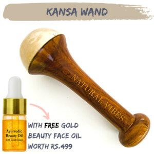Natural Vibes Kansa Face Massage Wand with FREE Gold Beauty Elixir Oil