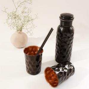Copper Water Bottle Gift Set - 750ML ANTIQUE BLACK BOTTLE WITH 2 GLASSES