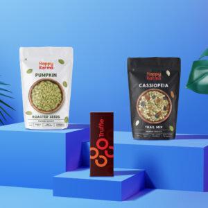 Happy Karma Diwali Gift Hamper | Alpha Variant | Super Foods Combo Box | Trail mix , Roasted Pumpkin seeds, Chocolate Truffle, Diwali Gift ( Diya /Candles), Diwali Greetings Card I Festival Gift Hampers