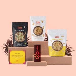 Happy Karma Diwali Gift Hamper | Elite Variant | Super Foods Combo Box | Trail mix , Almonds, Honey Nut Muesli, Chocolate Truffle, Diwali Gift ( Diya /Candles), Diwali Greetings Card I Festival Gift Hampers